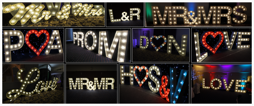 Love letter hire, light up letters north east